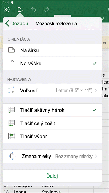 V dialógovom okne nastavenia tlače v Exceli pre iOS môžete nakonfigurovať spôsob tlače hárka.