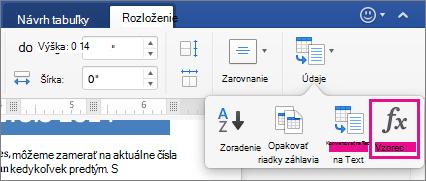 Na karte Rozloženie kliknite na položku Zobraziť ponuku a kliknite na položku vzorec.