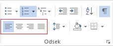 Rôzne možnosti zarovnania odseku sú k dispozícii na karte DOMOV.