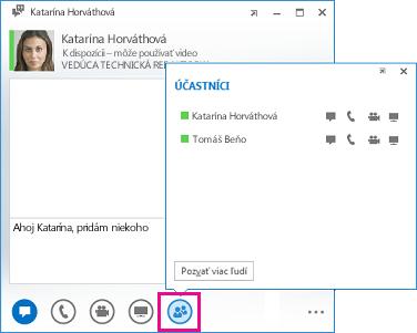 Snímka obrazovky s oknom konverzácie, tlačidlom Pozvať viac ľudí a dialógovým oknom