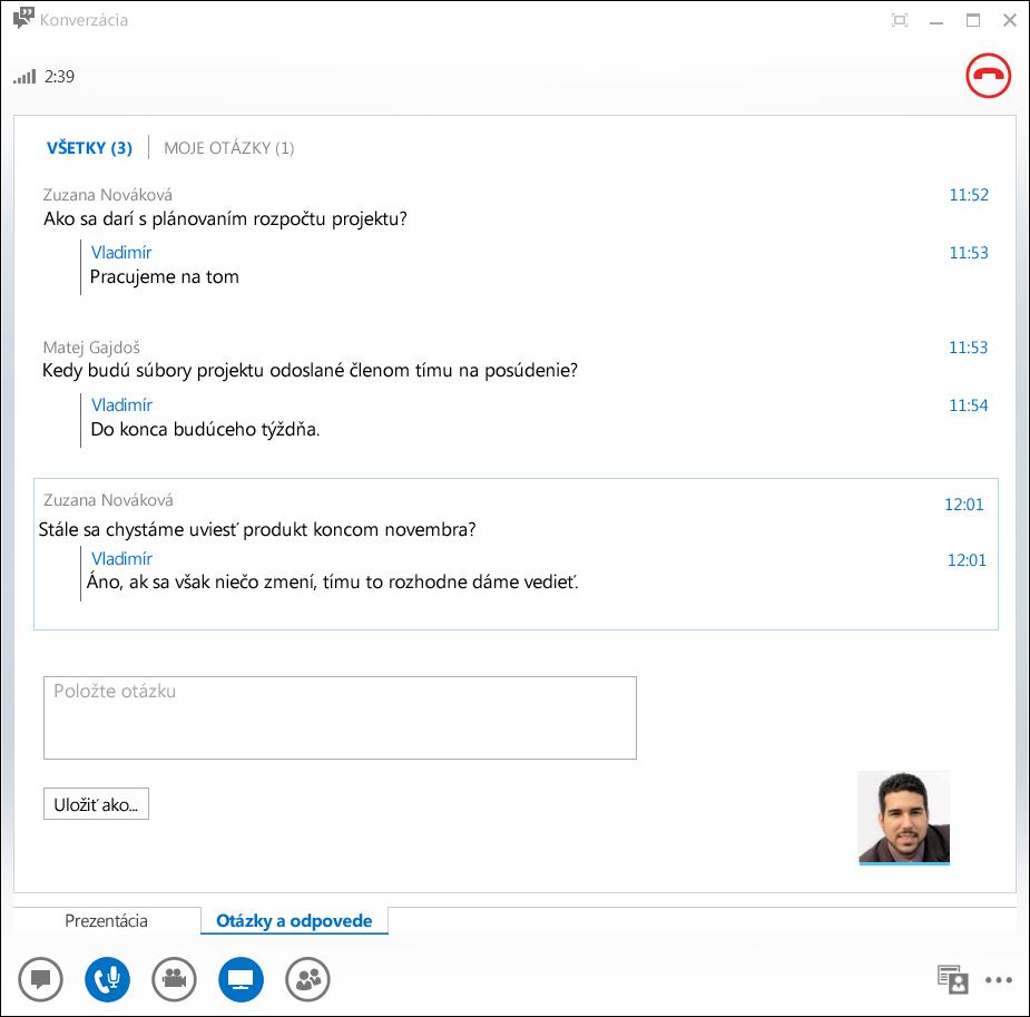 Snímka obrazovky Správcu otázok a odpovedí