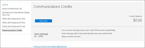 Vyberte položku Skype for Business PSTN spotreba pridať prostriedkov.