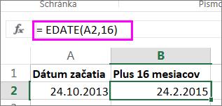 použitie vzorca EDATE na pridanie mesiacov k dátumu