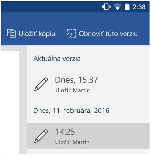 Snímka obrazovky s možnosťou História obnovenia predchádzajúcich verzií v Androide.