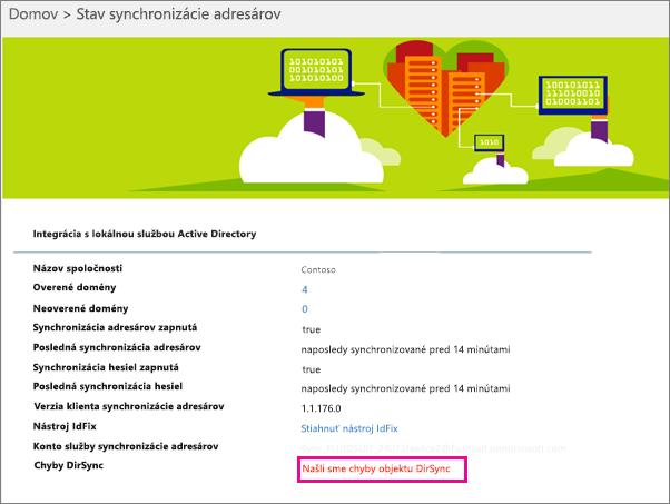 Na stránke stavu synchronizácie adresárov môžete vidieť, či sa vyskytli chyby objektu DirSync