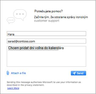 Obráťte sa na podporu dialógové okno miesto, kde môžete zadajte svoju správu a priložte obrázky