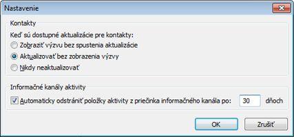 Dialógové okno nastavení nástroja Outlook Social Connector