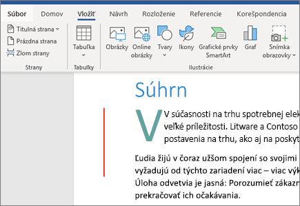 Obrázky, grafické prvky SmartArt a grafy vo Worde v Office 365