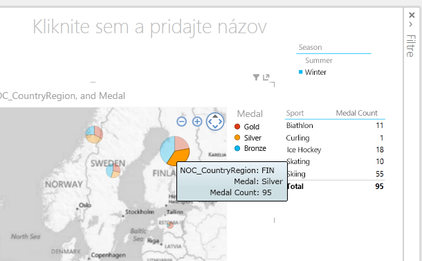 Rýchle filtre, tabuľky a mapy sú v Power View interaktívne