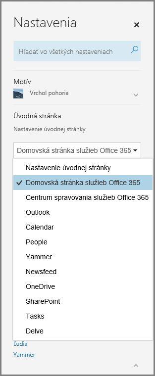 Zmeniť úvodnú stránku služieb Office 365
