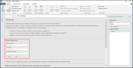 Power BI v Exceli – vnorené vstupné ovládacie prvky na vyvolanie funkcie v editore dotazov