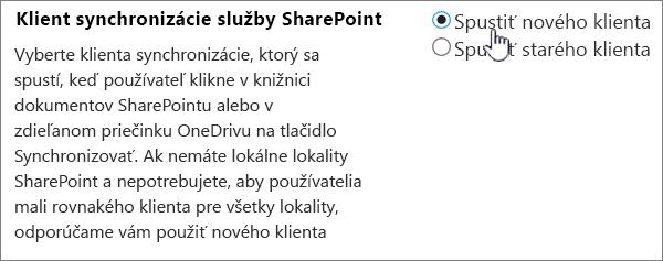 Nastavenie správcu pre klienta synchronizácie pre OneDrive