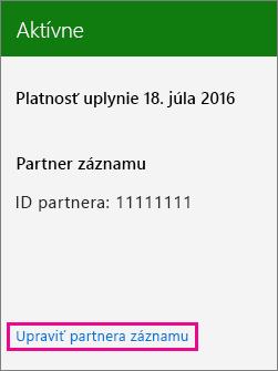 Výber položky Upraviť partnera záznamu