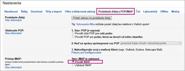 VGmaile vyberte prostredníctvom položky Posielanie ďalej aPOP/IMAP nastavenia vášho protokolu POP.