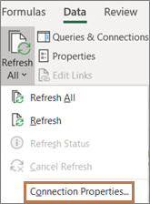 Mouse pointing to the Connection properties command on the ribbon