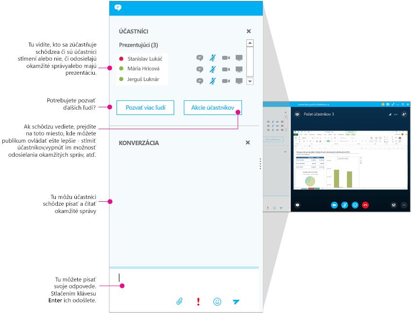 Okno schôdzí v Skype for Business, tabla okamžitých správ ako súčasť diagramu