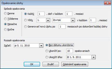 Dialógové okno Opakovanie úlohy