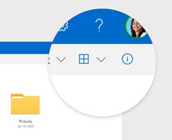 Tlačidlo informácie na table s podrobnosťami služby OneDrive.