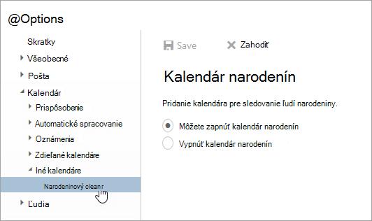 Snímka obrazovky s ponukou brithday kalendáre v nastaveniach