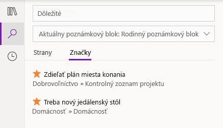 Výsledky vyhľadávania značiek vo OneNote pre Windows 10