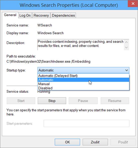 Dialógové okno Vlastnosti služby Windows Search zobrazuje vybraté nastavenie Automaticky v časti Typ spúšťania.