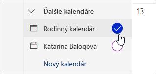 Snímka obrazovky s rodinným kalendárom na ľavej table