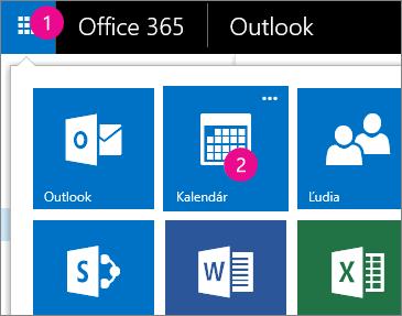 Outlook Web App, otvorenie kalendára