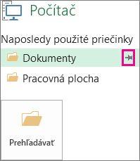 Kliknutím na ikonu špendlíka pripnete obľúbené miesto uloženia