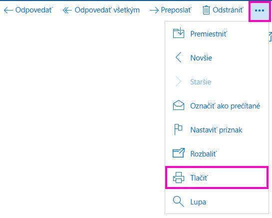 Tlač e-mailovej správy vaplikácii Pošta pre Windows10