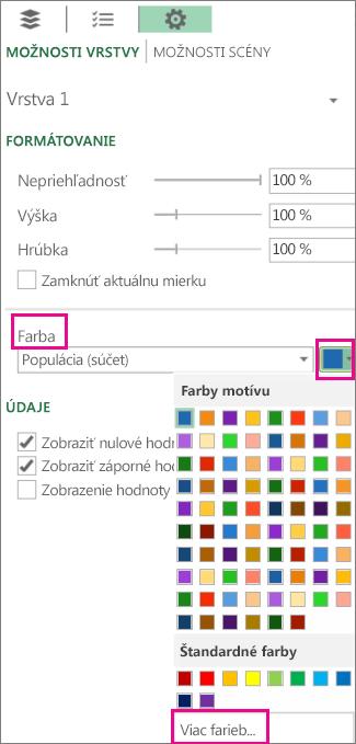Farby na karte Možnosti vrstvy vnastaveniach