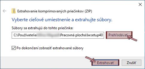 Dialógové okno Extrahovať