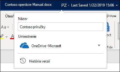 Rozbaľovacia ponuka z názvu dokumentu vo Worde pre Office 365