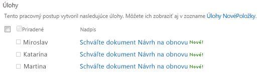 Zoznam stránky stavu pracovného postupu s textom Vykonajte revíziu dokumentu