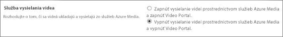 Vypnutie nastavenia portálu Office 365 Video v centre spravovania SharePointu Online