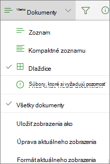 Zmena zobrazenia knižnice dokumentov vslužbách Office 365