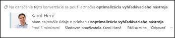 Konverzácia v informačnom kanáli s aktualizáciami spojená so značkou