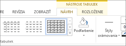 Karta Nástroje tabuliek