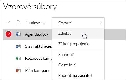 Snímka obrazovky skontextovou ponukou pre dokument saktívnou možnosťou zdieľania.