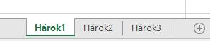 Karty excelových hárkov zobrazené vdolnej časti tably Excelu