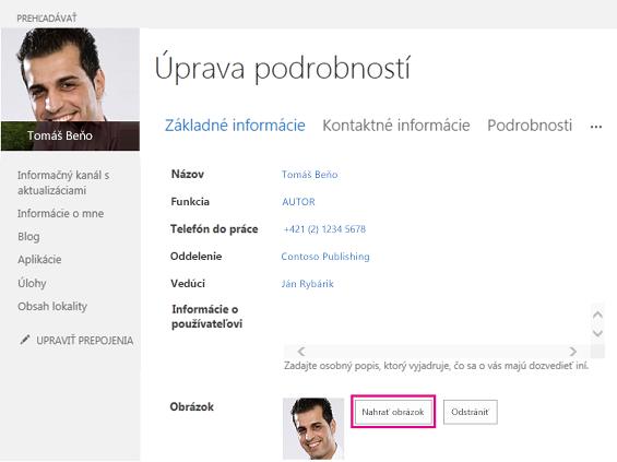 Snímka obrazovky s oknom Zmeniť obrázok SharePointu so zvýrazneným tlačidlom Nahrať obrázok