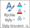 Skupina Štýly grafiky WordArt zobrazuje iba ikony