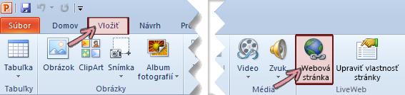 Doplnok LiveWeb sa nachádza na karte Vložiť na páse snástrojmi úplne vpravo.