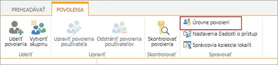 Stránka výberu úrovní povolení.