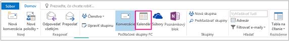 Tlačidlo Kalendár na páse s nástrojmi pre skupiny v Outlooku