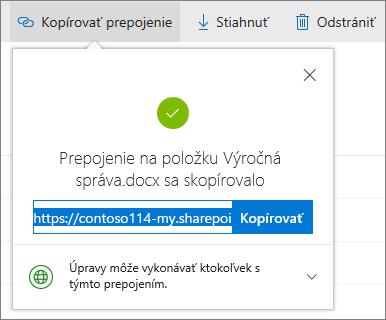 Kopírovanie prepojenia vo OneDrive for Business