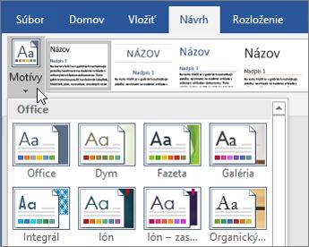 Motívy vo Worde vOffice 365