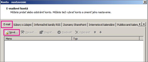 Snímka obrazovky skartou E-mail vdialógovom okne Nastavenie kont.