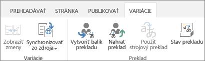 Snímka obrazovky s kartou variácií na cieľovej lokalite. Karta obsahuje dve skupiny, variáciu a preklad