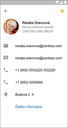 Karta profilu so žltou hviezdičkou, ktorá označuje tento kontakt, je obľúbená