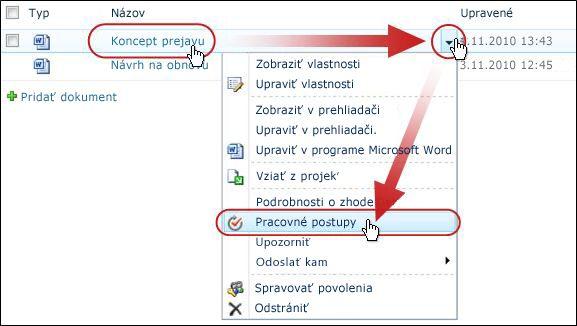 V rozbaľovacej ponuke kliknite na položku pracovné postupy